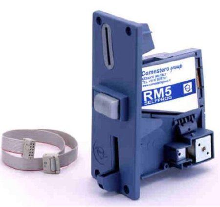 Érmefogadó, elektronikus, Comestero RM5 komplett előlappal, csatlakozó kábellel.