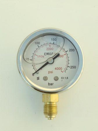 Nyomásmérő óra , alsó kivezetésű, d50, 250 bar